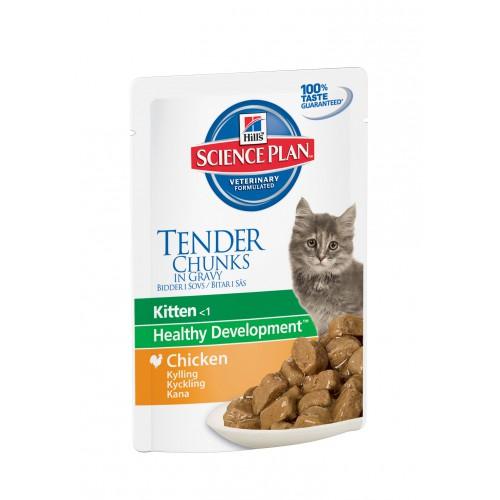 Hills Science Plan Feline Kitten Chicken (Курица),Паучи (нежные кусочки в соусе) для котят с 3 недель до 12 месяцев