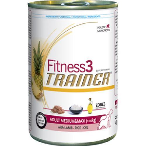 Trainer Fitness3 консервы Adult Medium/Maxi Lamb & Rice (Ягненок и Рис), для взрослых собак средних и крупных пород - 400 гр.