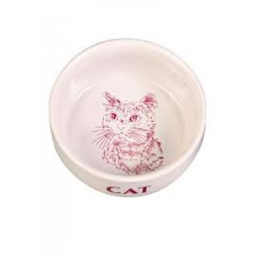 """Миска """"TRIXIE"""" керамическая, для кошек с изображением кота, 0,3л/диам.11см"""