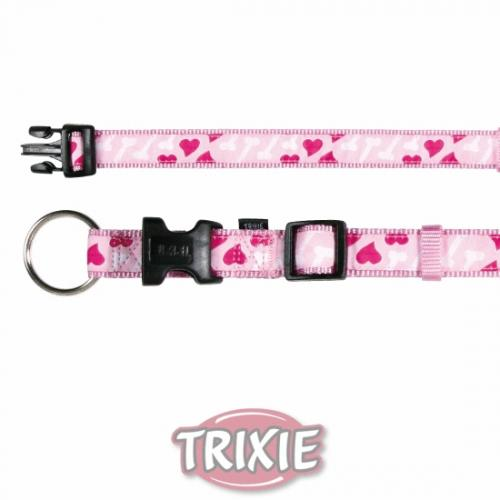 "Ошейник ""TRIXIE"" для собак ""Modern Art Collar Rose Hearts"", (S-M),30-45см/15мм, розовый"