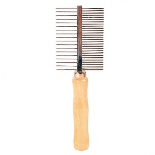 """Расческа металлическая """"TRIXIE"""" с деревянной ручкой, двусторонняя, 17см"""